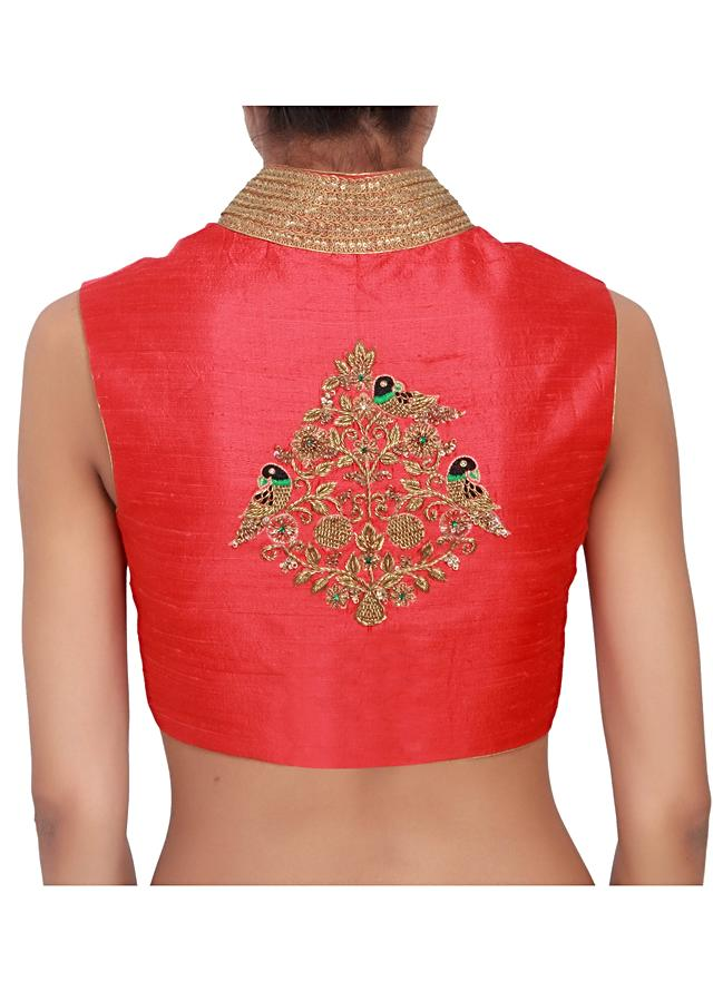 Scarlet red over-lapping blouse featured in silk, embellished with bronze zardozi work only on Kalki