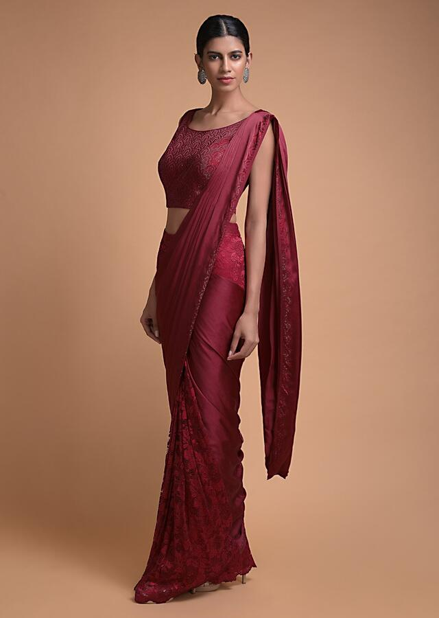 Scarlet Red Ready Pleated Half And Half Saree In Floral Lace And Satin Crepe Online - Kalki Fashion
