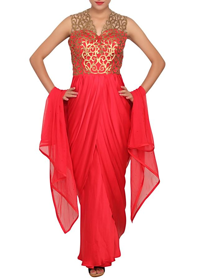 Scarlet red salwar kameez with cowl drape featured in satin only on Kalki