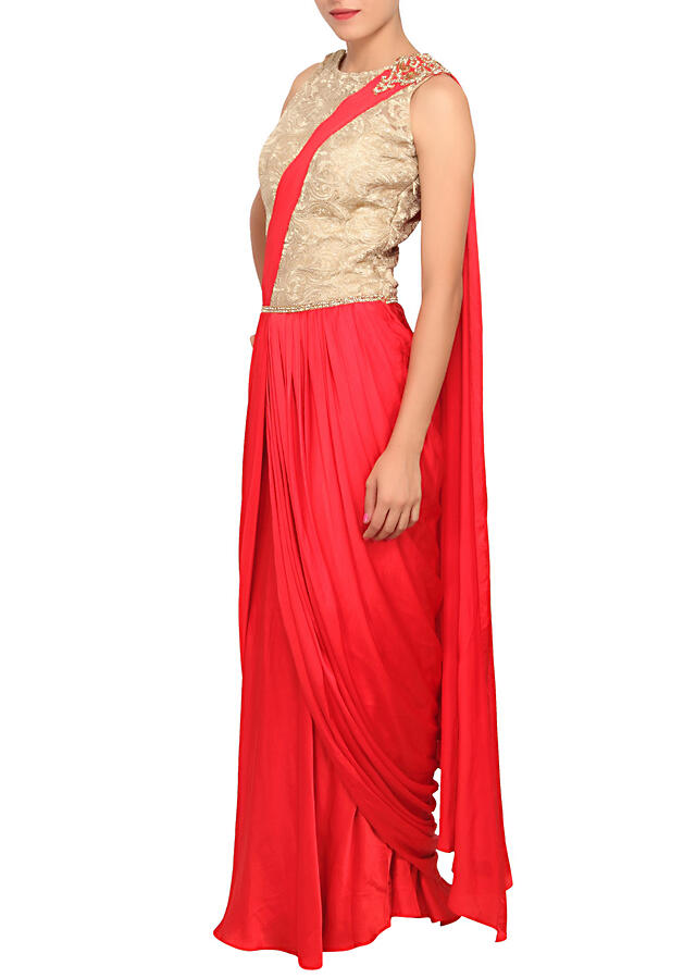 Scarlet red saree gown featured in satin only on Kalki