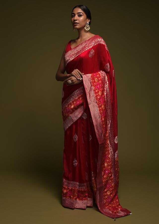 Scarlet Red Saree In Art-Loom Silk With Woven Patola Border And Abla Work Online - Kalki Fashion