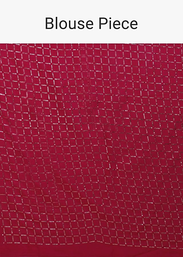 Scarlet Red Saree In Chiffon With Badla Work All Over Online - Kalki Fashion