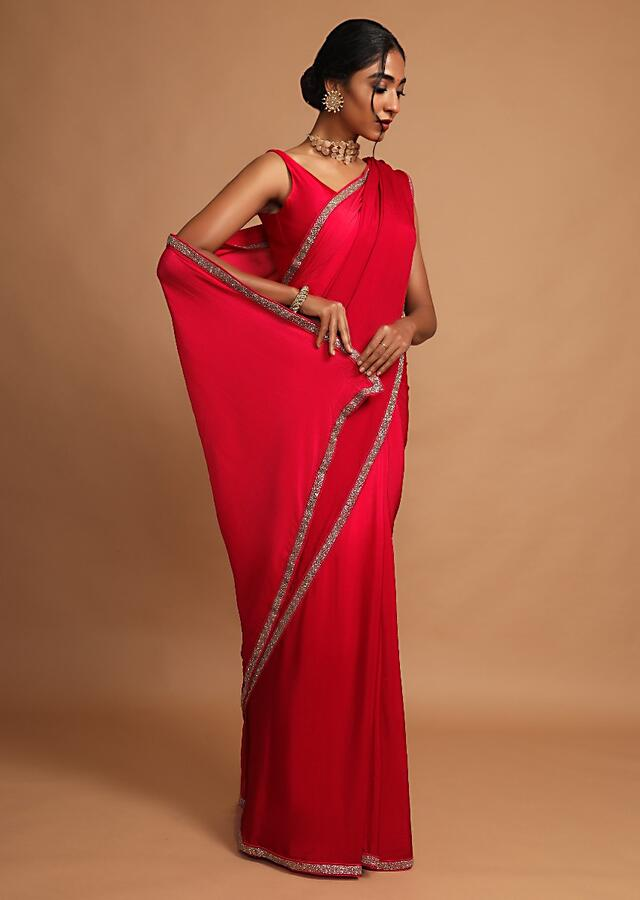 Scarlet Red Saree In Chinon Chiffon With Cut Dana Highlighted Border Online - Kalki Fashion