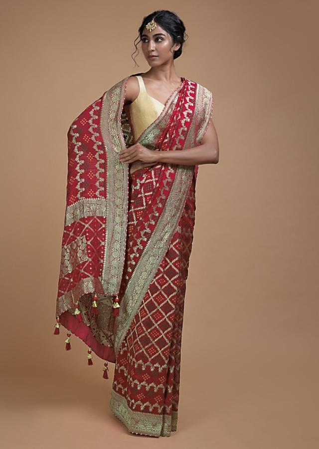 Scarlet Red Saree In Georgette With Weaved Checks And Bandhani Pattern All Over Online - Kalki Fashion