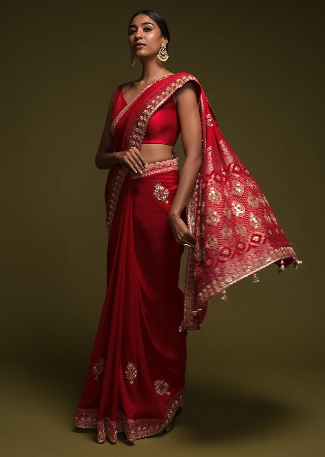 Scarlet Red Saree In Crepe SIlk With Woven Buttis And Bandhani Online - Kalki Fashion