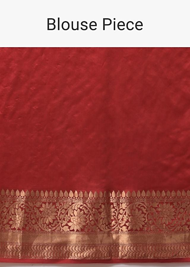 Scarlet Red Saree In Organza With Brocade Border And Resham Embroidered Floral Buttis Online - Kalki Fashion