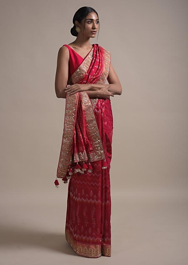 Scarlet Red Saree In Silk With Ikkat Weaved Patola Pattern All Over And Gotta Embroidered Border Online - Kalki Fashion