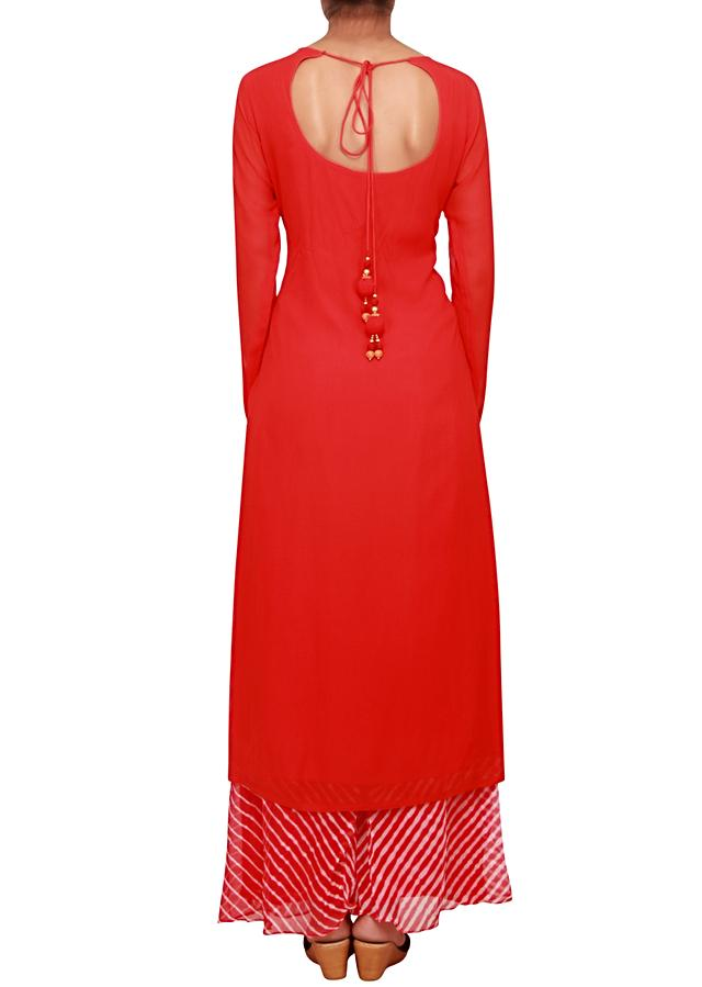 Scarlet red straight fit kuri embellished in french knot and zardozi only on Kalki