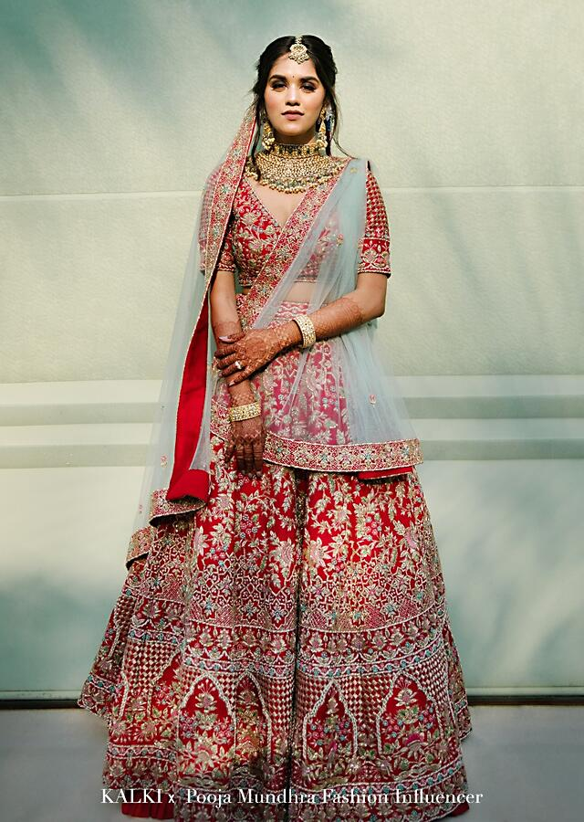 Scarlet Red Lehenga Choli In Raw Silk With Embossed Embroidery In Summertime Flowers And Mughal Motifs Online - Kalki Fashion