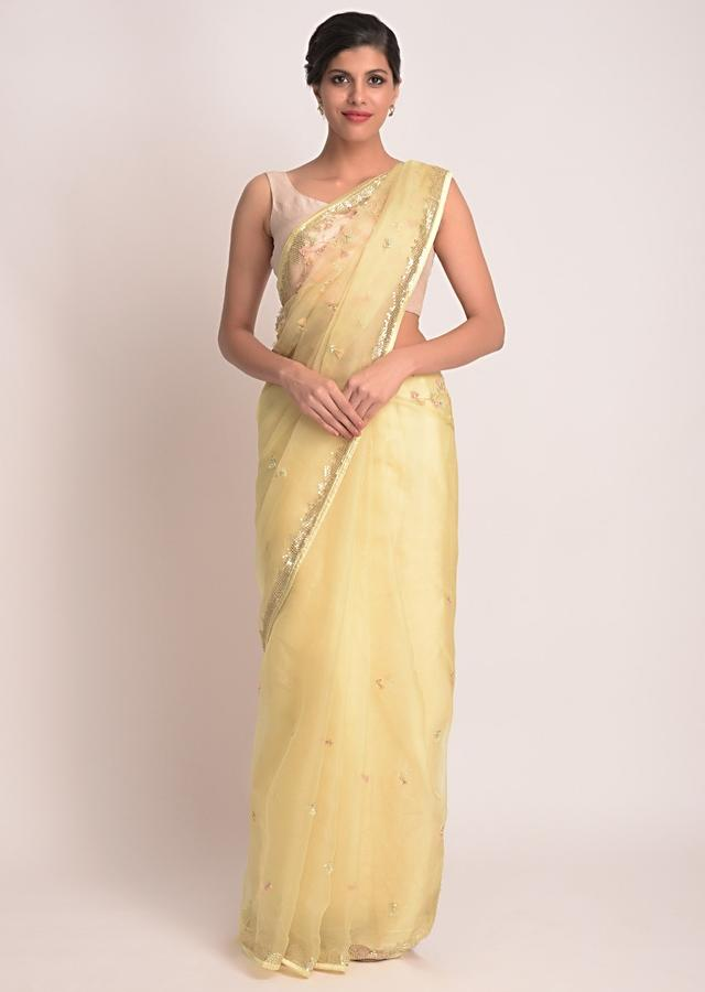 Scotch Butter Yellow Saree In Organza With 3D Net Floral Embellishment Online - Kalki Fashion