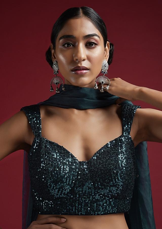 Sea Blue Blouse In Sequins Fabric With Tapering Straps On The Shoulders And Corset Neckline Online - Kalki Fashion