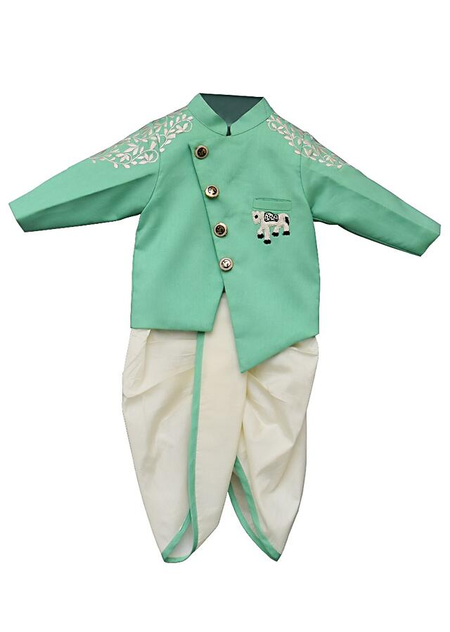 Sea Green Ajkan In Cotton Silk With Thread Embroidered Leaf Pattern On The Sleeves By Fayon Kids