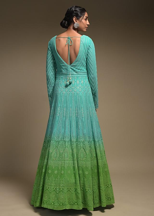 Sea Green And Parrot Green Shaded Anarkali Suit In Georgette With Lucknowi Work And Bandhani Dupatta Online - Kalki Fashion