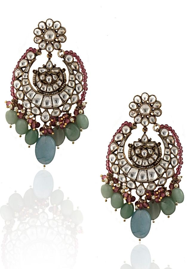 Sea Green And Pastel Blue Beads Necklace And Earrings Set With Kundan Work By Riana Jewellery