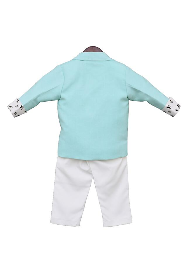 Sea Green Coat With White Shirt And Pant by Fayon Kids