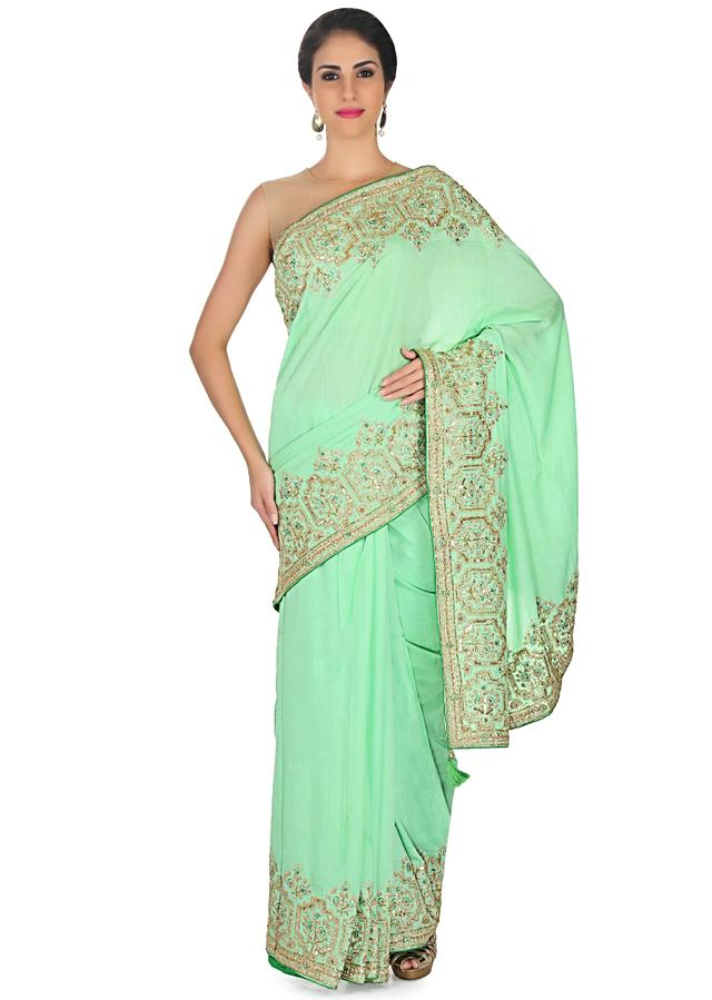 Sea green cotton silk saree in zari and sequin embroidery only on Kalki