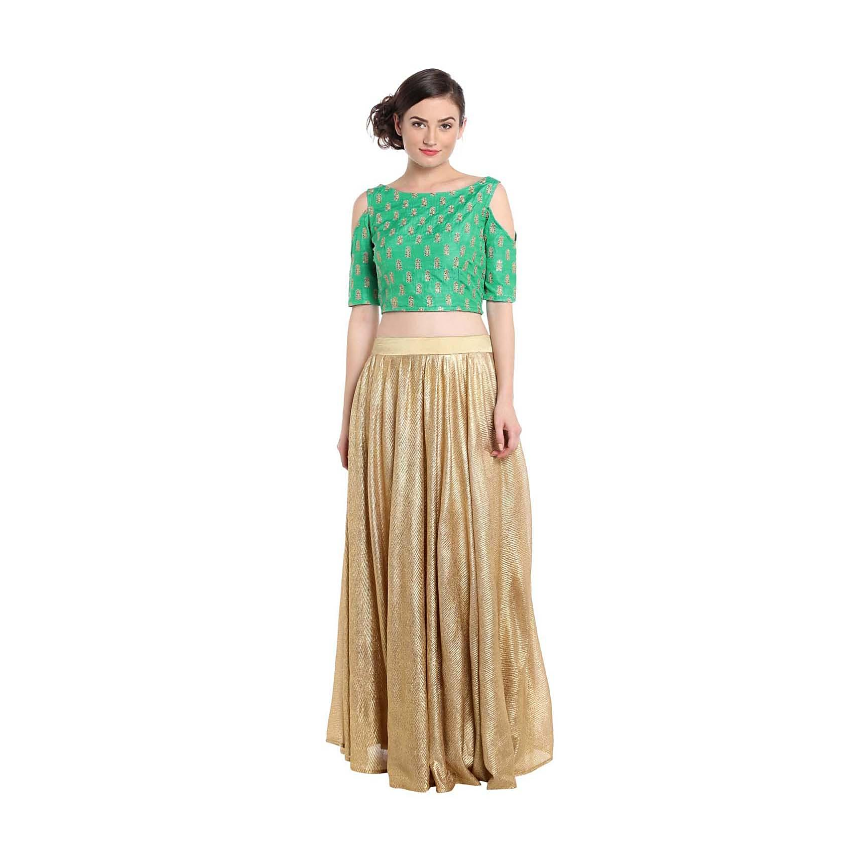 82719e1a9bce Sea green crop top blouse with gold shimmer skirt