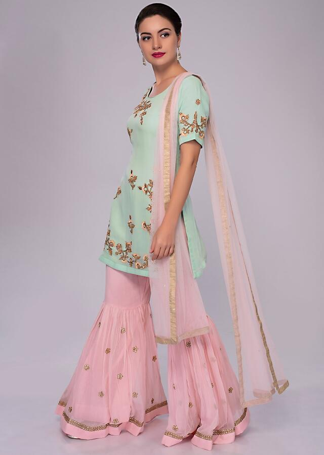 Sea Green Embroidered Suit With Pink Sharara And Net Dupatta Online - Kalki Fashion