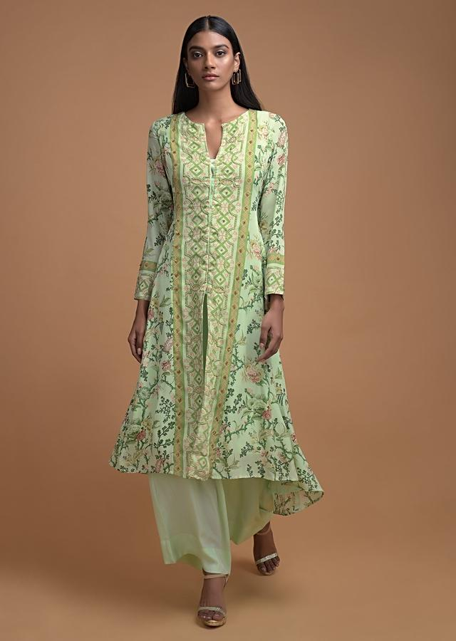 Sea Green Floral Printed Palazzo Suit With Center Panel Embroider And Front Slit Online - Kalki Fashion