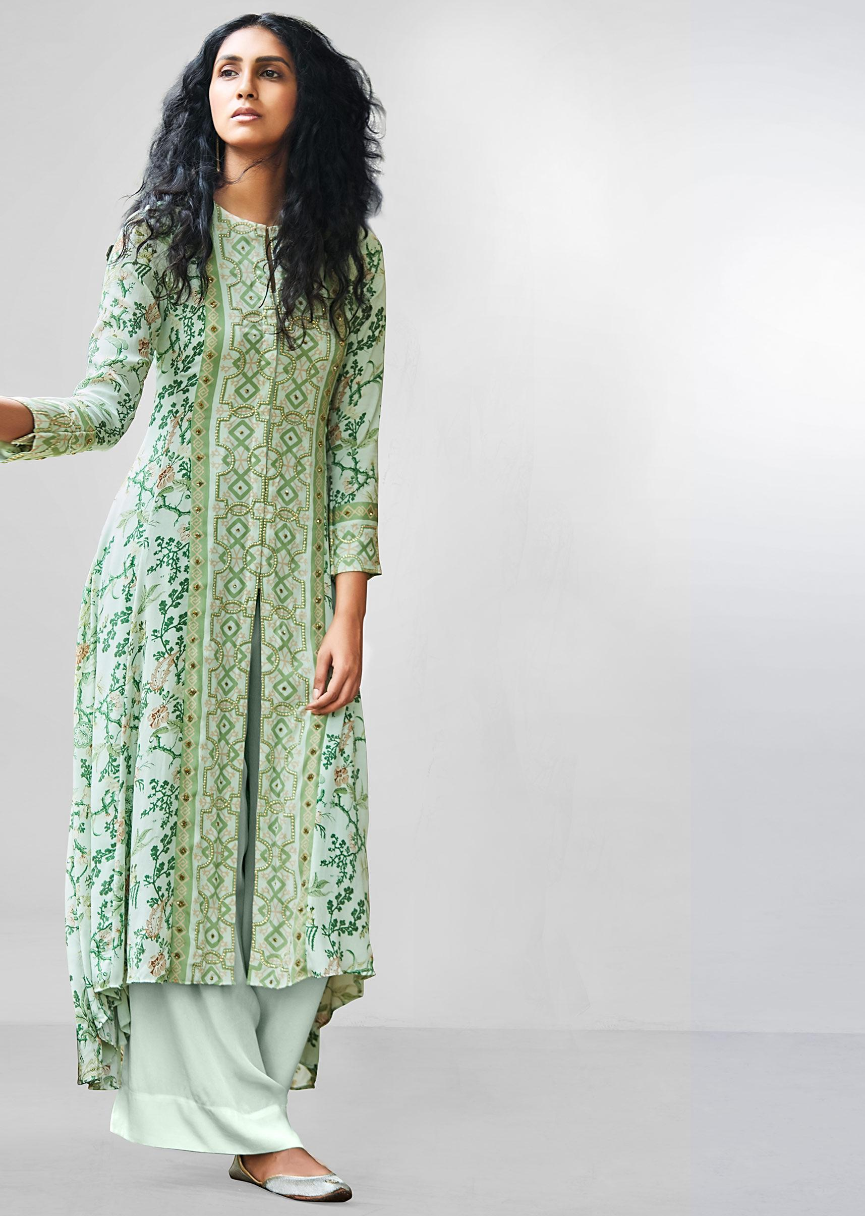 Sea Green Floral Printed Palazzo Suit