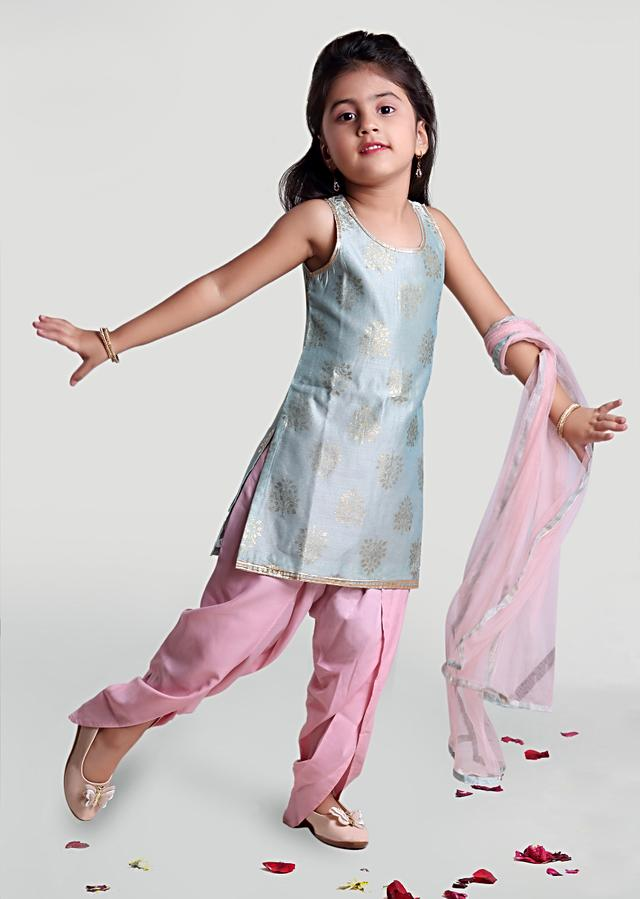 Sea Green Kurta Set With Woven Buttis And Pastel Pink Dhoti  By Mini Chic
