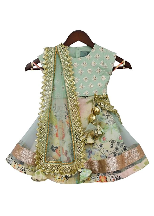 Sea Green Lehenga With Floral Printed Under Layer And Embroidered Choli By Fayon Kids