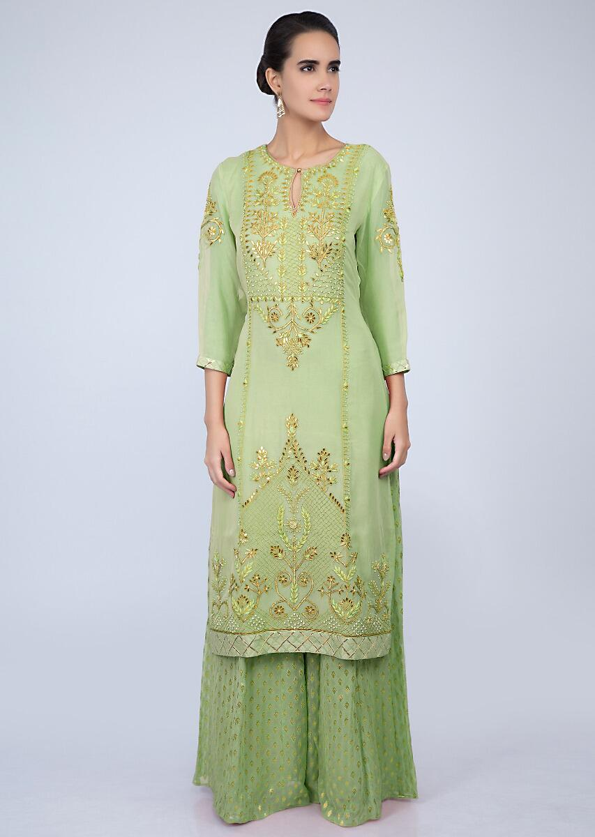 dc55efc871 Sea green palazzo suit set in front panel embroidery only on Kalki