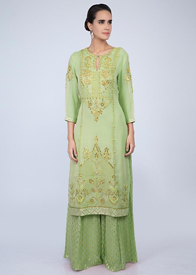 Sea Green Palazzo Suit Set In Front Panel Embroidery Online - Kalki Fashion