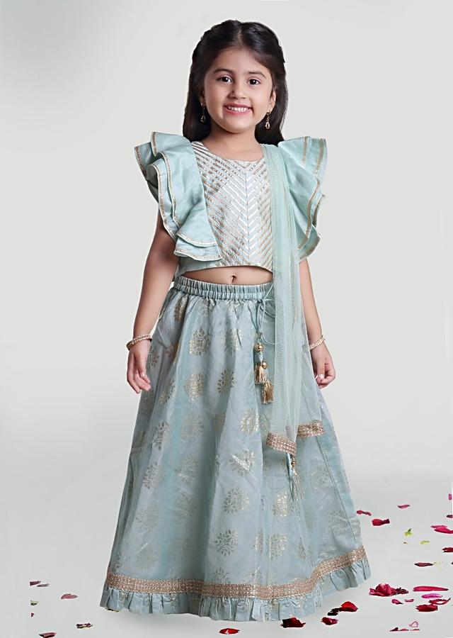 Sea Green Printed Skirt In Chanderi And Tussar Choli With Ruffle Sleeves By Mini Chic