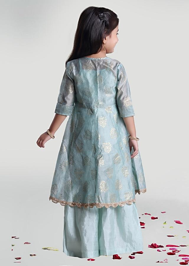 Sea Green Sharara And Jacket Set In Tussar With Printed Buttis By Mini Chic