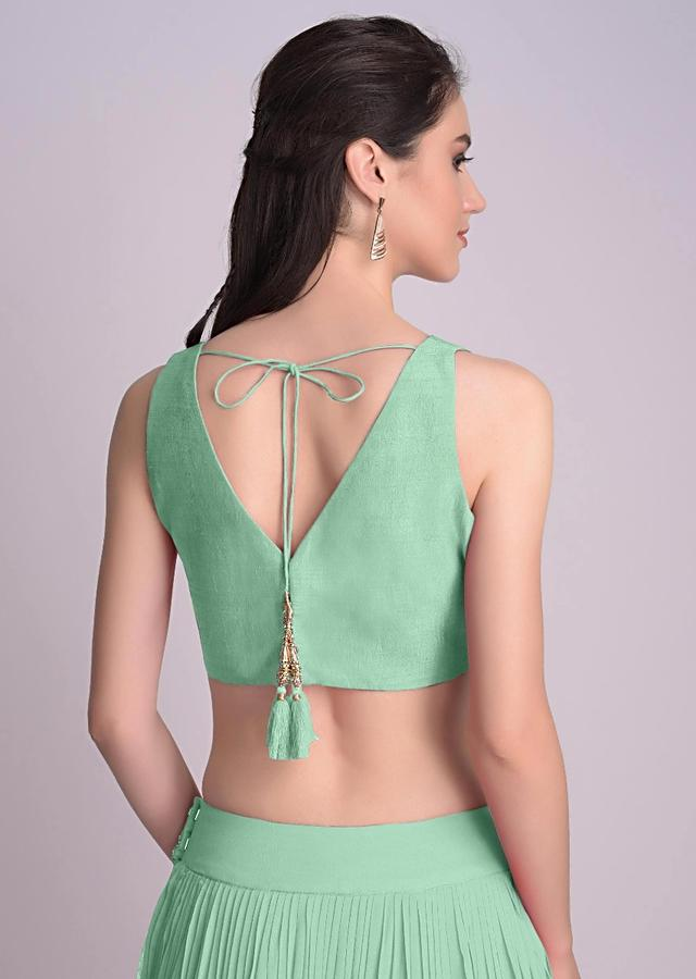 Sea Green Sleeveless Blouse With V Neckline In The Front And Back Online - Kalki Fashion