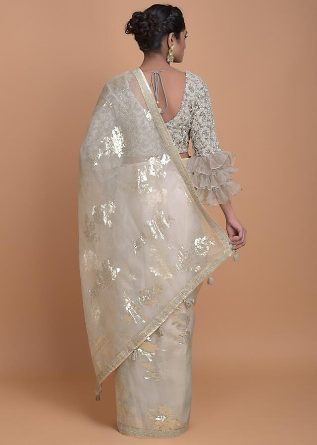 Sea Salt Grey Saree In Organza With Weaved Floral Motifs In Repeat Pattern Online - Kalki Fashion