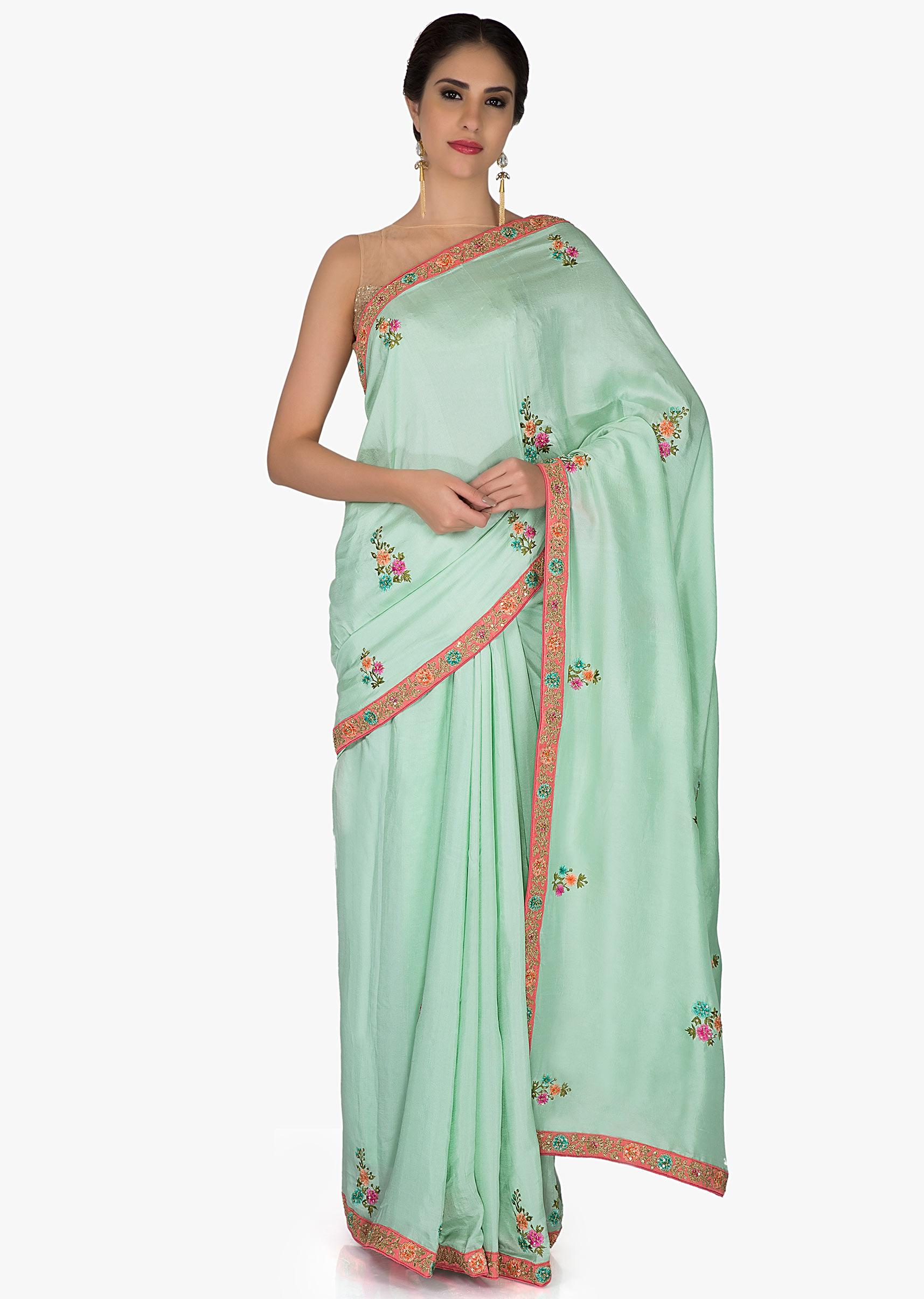 2204f5c041fb3 Sea Green Silk Saree and Pink Raw Silk Blouse with Resham Butti and Sequins  only on KalkiMore Detail