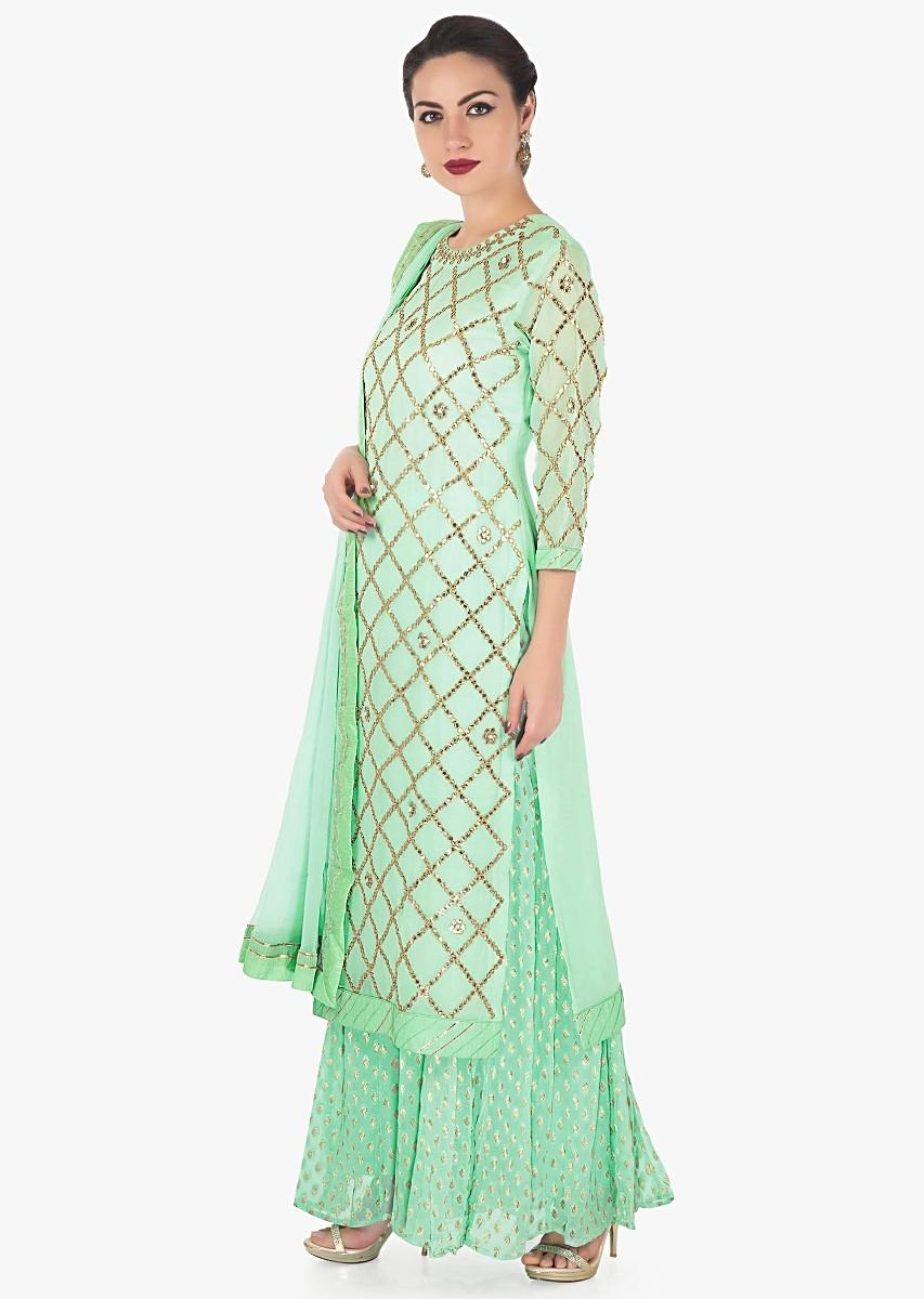 5e67289606 Sea green straight palazzo suit in georgette with gotta patch embroidery  only on KalkiMore Detail
