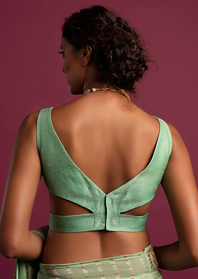 Seafoam Green Blouse In Raw Silk With Curved V Neckline In The Front And Back Online - Kalki Fashion