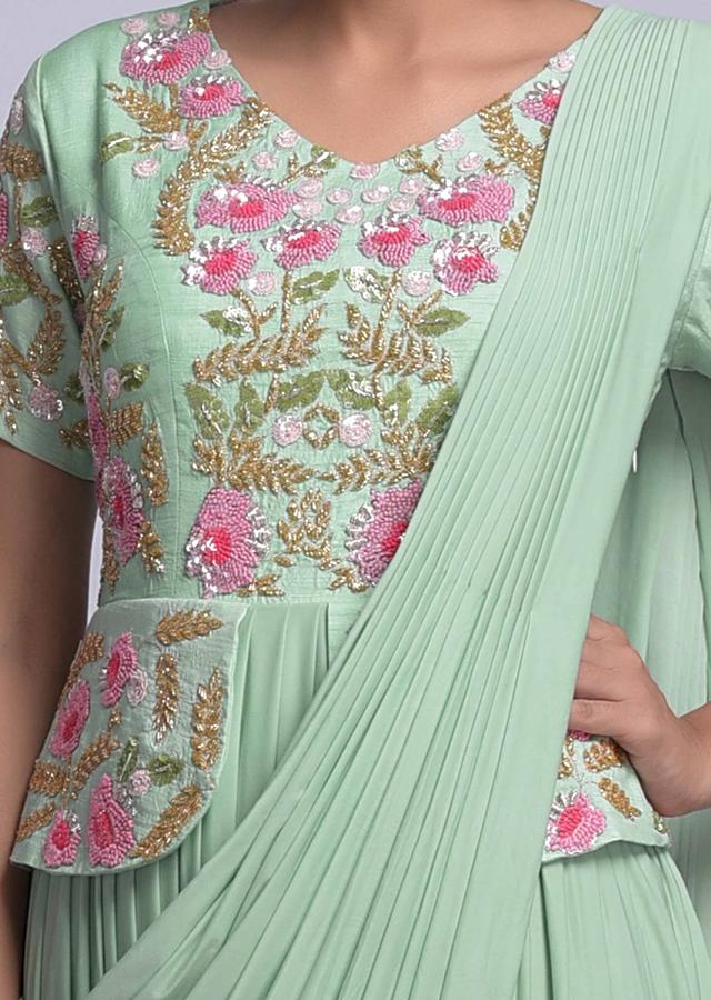 Seafoam Green Indowestern peplum Gown With Attached Drape And Floral Embroidery Online - Kalki Fashion