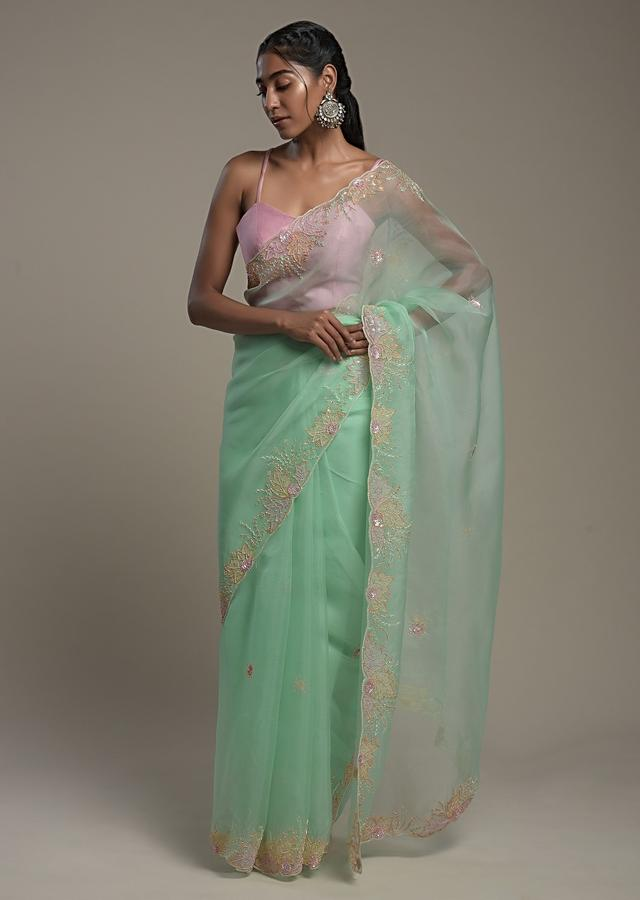 Seafoam Green Saree In Organza With Hand Embroidered Floral Design And Unstitched Blouse Online - Kalki Fashion