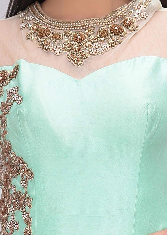 Seafoam green brocaded and embellished gown on cotton silk only on Kalki