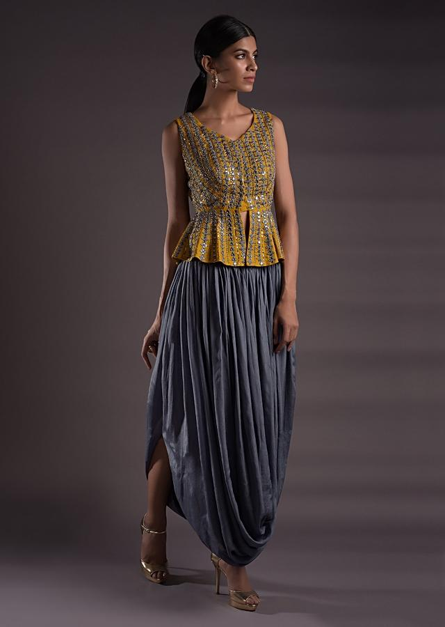 Seal Grey Skirt With Cowl Drape And Mustard Yellow Peplum Top Online - Kalki Fashion