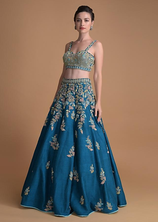 Seaside Blue Lehenga Choli Hand Crafted With Embossed Embroidery In Floral Motifs Online - Kalki Fashion