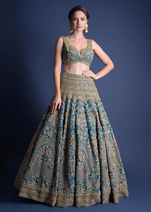 Seaside Blue Lehenga Choli With Heavy Hand Embellished Moroccan And Floral Pattern Online - Kalki Fashion
