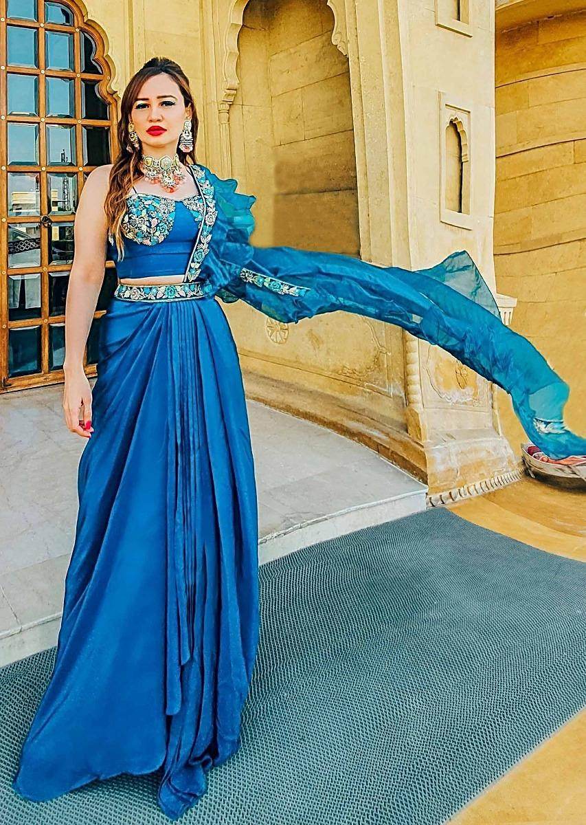 Seaside Blue Dhoti Skirt And Crop Top With An Attached Ruffle Pallu Online - Kalki Fashion