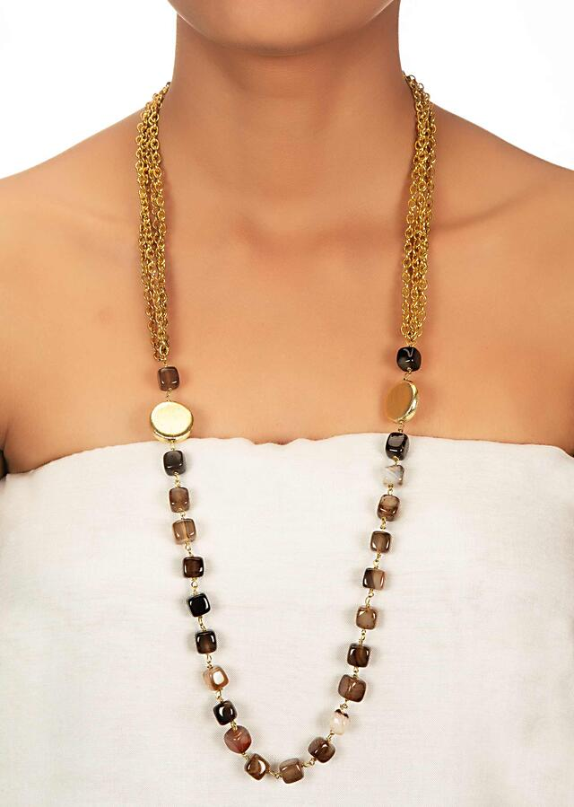 Semi Precious Stone Necklace With Multiple Layer Cable Chain Only On Kalki 447868