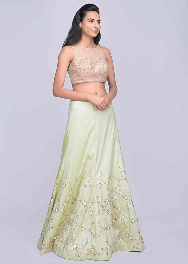 Pista Green Semi Stitched Lehenga Choli In Two Toned Satin Silk Online - Kalki Fashion
