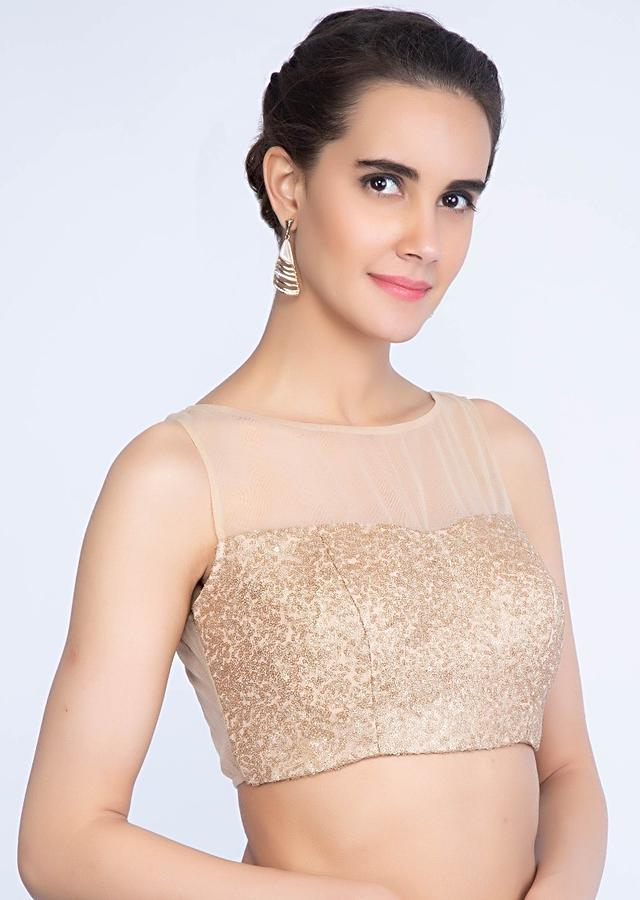 Sequin embroidered golden net blouse only on kalki