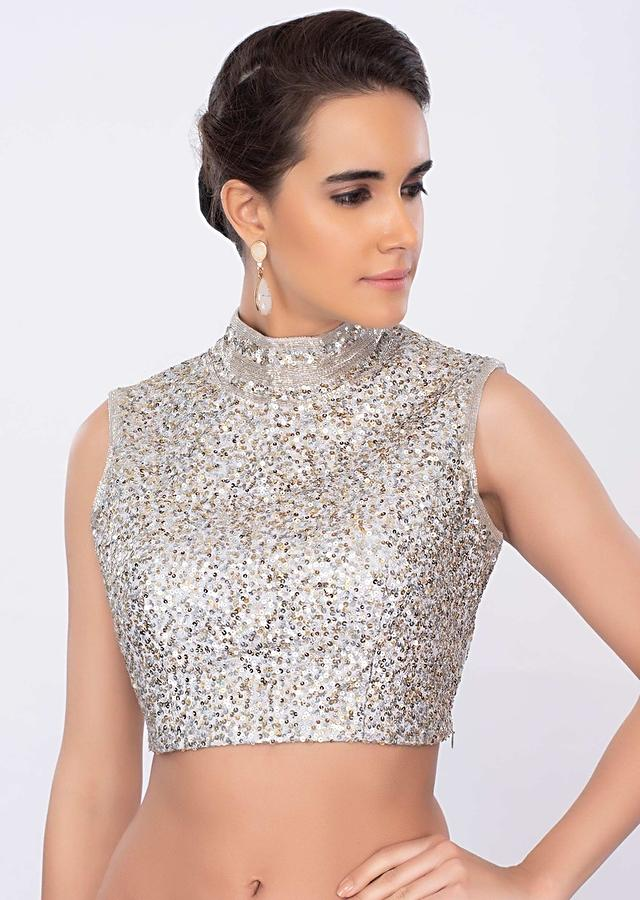 Silver Blouse With A Mix Of Golden And Silver Sequins Embroidery And High Neck Online - Kalki Fashion