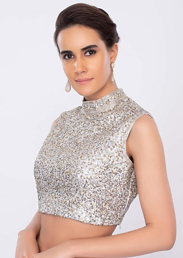 Silver Blouse With Sequins Embroidery And High Neck Online - Kalki Fashion