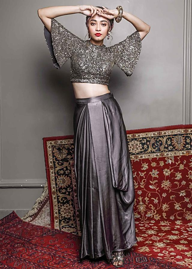 Charcoal Grey Skirt In Satin Silk Teamed With Matching Blouse With Sequins Work Online - Kalki Fashion