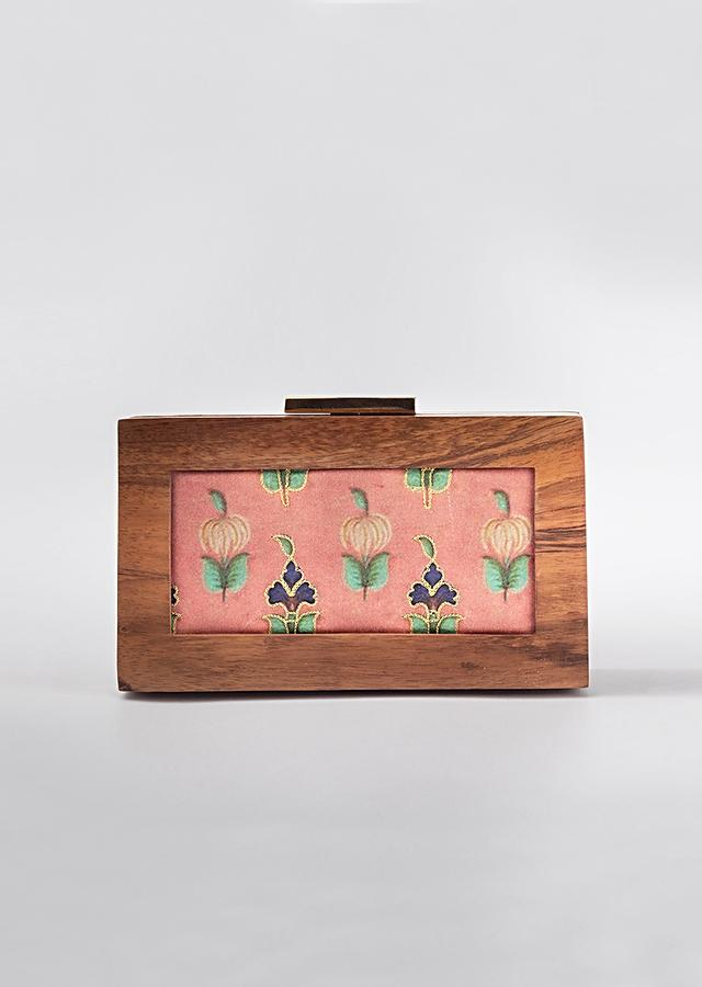 Onion Pink Box Clutch Floral Print And Antique Wooden Frame By Vareli Bafna