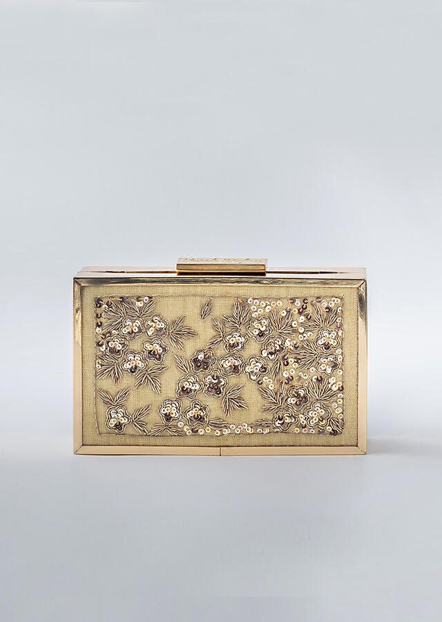 Gold Box Clutch In Heavy Linen With Rose Gold Sequins And Zardozi Work In Floral Pattern By Vareli Bafna